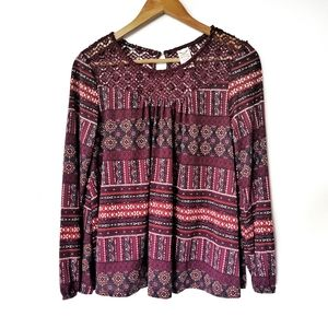 Faded Glory Bohemian Printed Top with Crochet Details